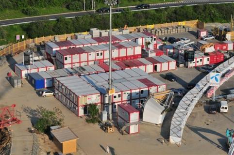 Град от контейнери - поглед отгоре